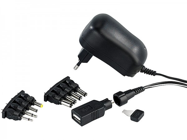 Universal-Netzladegerät 1.000 mA, umschaltbar 3-12 Volt, 9 Adapter