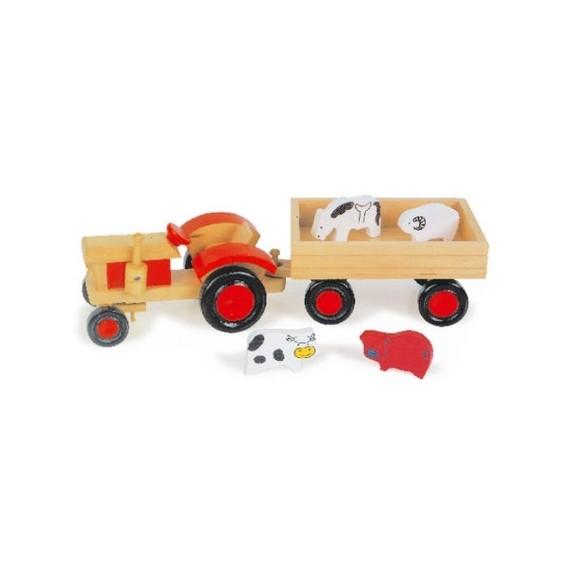 Holztraktor mit Tieren