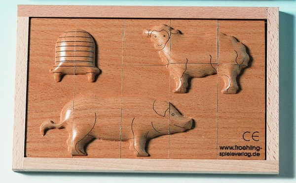 Reliefpuzzle Schwein, Schaf, Bienenstock